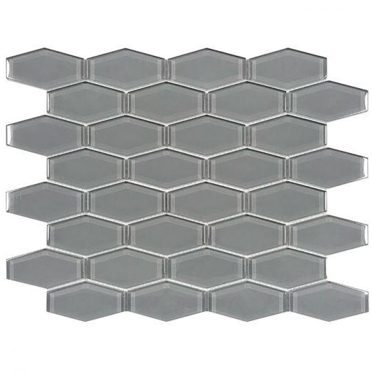 tesoro earth gray 1 x 3 hexagon glass mosaic