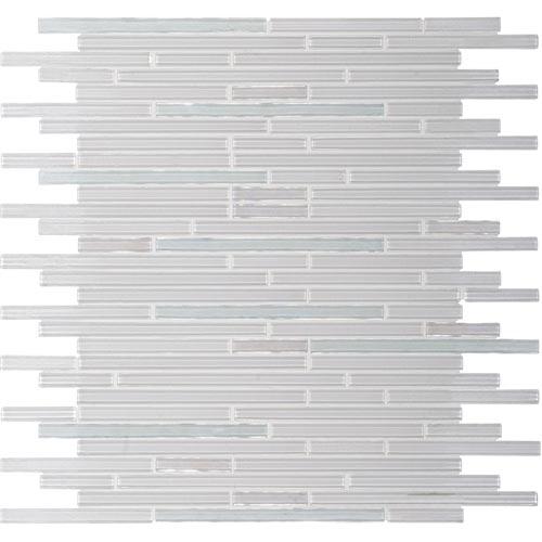 "10sf Carrara White Marble Gray Glass Linear Mosaic Tile: Diamonde 3/8"" X Random Linear Pattern"