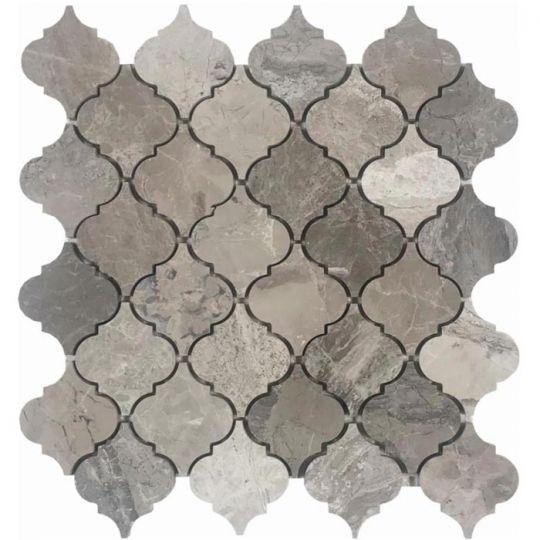 Carrara Marble /& Dark Porcelain Wood Waterjet Cut Tile Mosaic Tile Floor Inlays