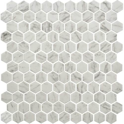Daltile Uptown Carrara Hexagon Glass Mosaic