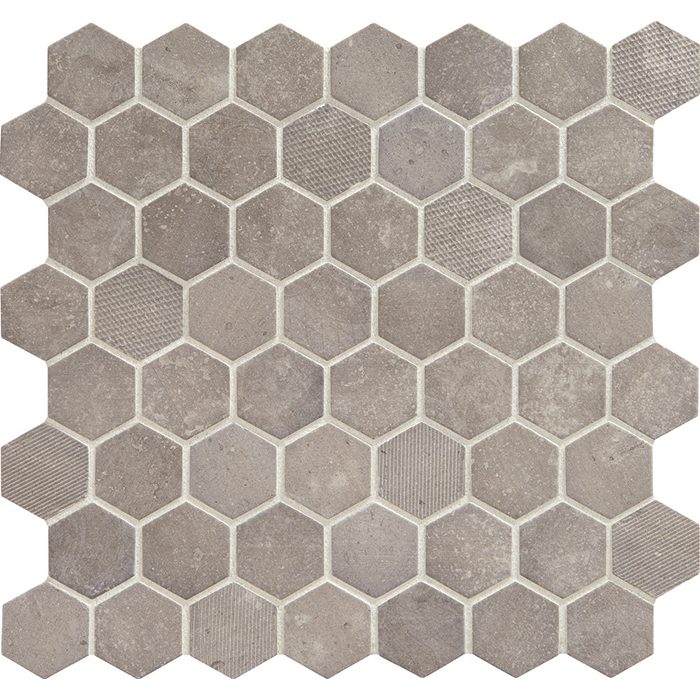 Daltile Vintage Hex Artifact Gray Glass Mosaic