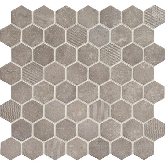 Daltile Vintage Hex Glass Mosaic Artifact Gray Gbtile Collections