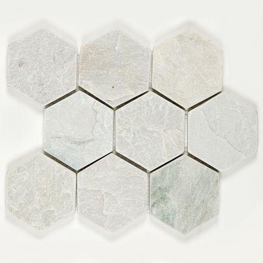 Tumbled Stone 4 Hexagons Ice Grey