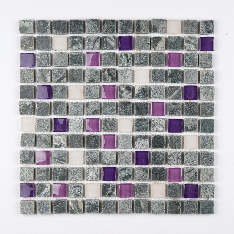 Tumbled Stone Glass Mardi Gras 12 X 12 Mosaics