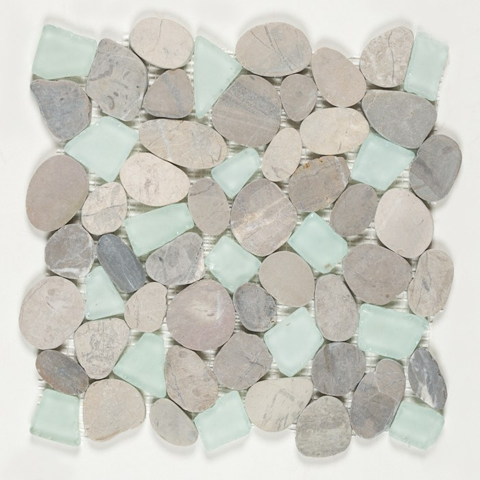 Sea Glass Pebbles Oyster Bay 12 X, Sea Glass Mosaic Tile Bathroom