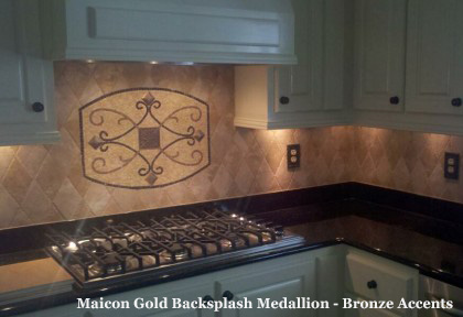 Maicon Gold Backsplash Medallion - Bronze Accents